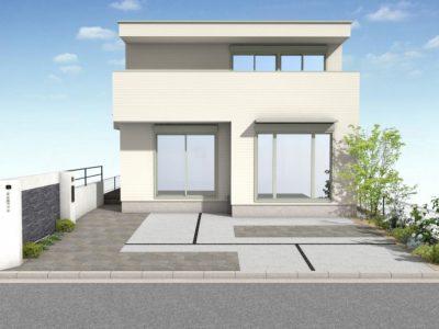 テーマは、『存在感のある門柱』。 駐車スペースを確保しながら、存在感のある門構えを創る!