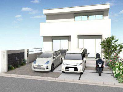駐車した時のアプローチの見え方を計算したデザイン。外構の雰囲気も車もグレードアップして見えません?!