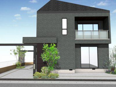 テーマ『敷地を有効に使えて、建物に合うバランスの良い門構えを創る!』 人工的なものと自然なものとのバランスが最重要点。